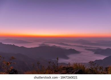 Sunrise and Sea of fog at Phu Chi Fa National Park. Chiang Rai Province, Thailand