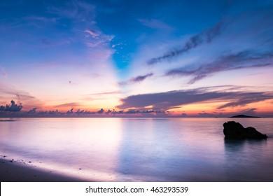 Sunrise, sea, landscape. Okinawa, Japan, Asia.