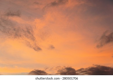 Sunrise at sea. Red clouds. Tropics.