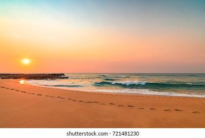 Sunrise Seascape and the Beach - The Skillion at Terrigal, Central Coast, NSW, Australia.