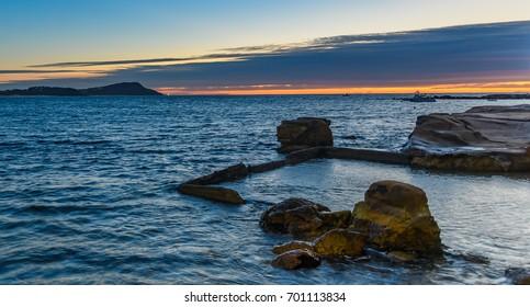 Sunrise Seascape and Old Sea Pool - Taken at Terrigal, NSW, Australia