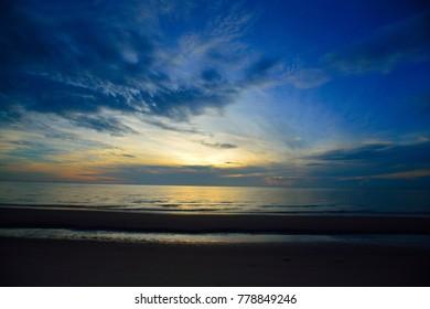 Sunrise At seascape in Thailand.