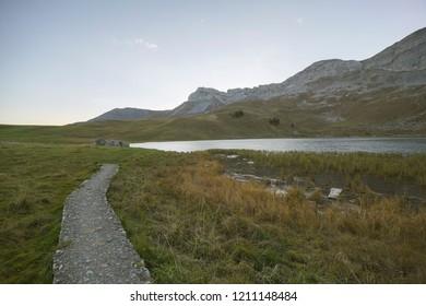 Sunrise at Seefeldsee Lake on Aelggialp Switzerland. Swiss mountain landscape