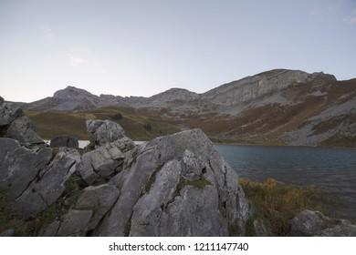 Sunrise at Seefeldsee Lake on Aellgialp in Switzerland. Swiss mountain landscape