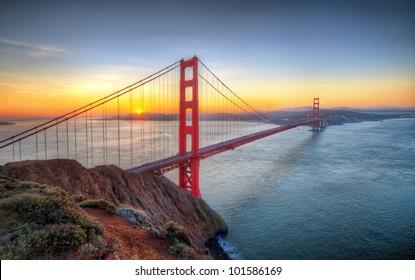 Sunrise seen from Golden Gate Bridge in San francisco