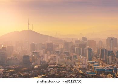 Sunrise at Seoul City Skyline, The best view of South Korea