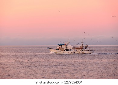 sunrise ship holy mountain athos in greece