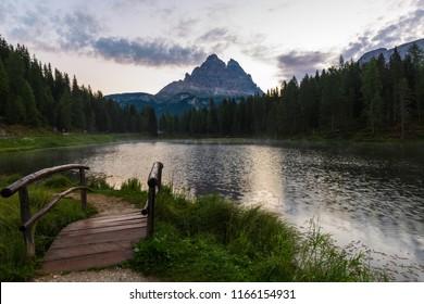 a sunrise shot on the Antorno Lake, Dolomite, north Italy