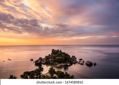 sunrise in the Sicilian village Taormina