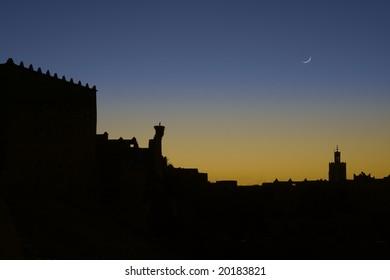 Sunrise silhouette, Kasbah Taourirt, Ouarzazate, Morocco