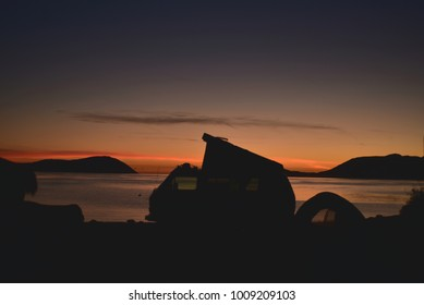 sunrise silhouette tent camping camper van beach, Mexico