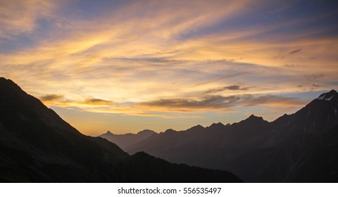 Sunrise sky in the Alps
