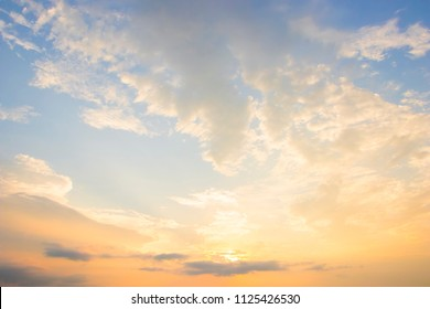 Sunrise sky for background.Beautiful blue sky with clouds.dramatic cloudscape with morning sunlight in summer.