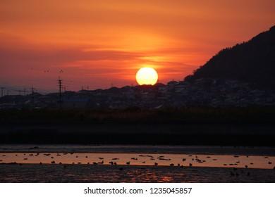sunrise sky landscape fukuoka, japan