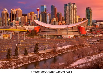 Sunrise sky over downtown Calgary
