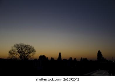 Sunrise skyline of Amsterdam