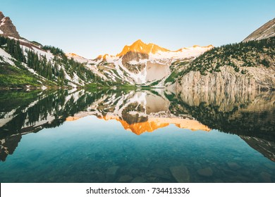 Sunrise of Snowmass Mountain in Maroon Bells Wilderness Colorado