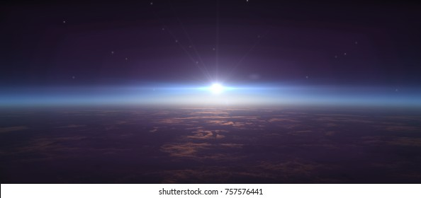 sunrise from space, stars and sun This image elements furnished by NASA