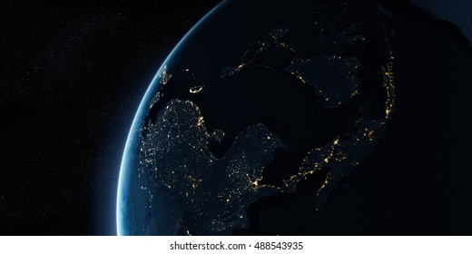 Sunrise in space. View on the night Earth with city lights glowing on the dark side. Asia region. Elements of this image furnished by NASA. 3d illustration
