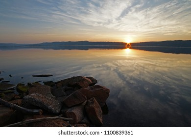 Sunrise in spring time in Norway, Drammen. wide agle photo.