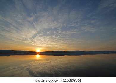 Sunrise in spring time in Norway, Drammen.