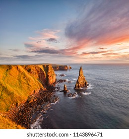 Sunrise at Stacks of Duncansby, Duncansby Head, Caithness, Scotland, UK