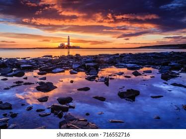 Sunrise at St.Mary's Lighthouse on the Northumberland coast, England