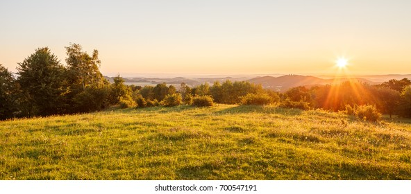 Sunrise in a summer landscape