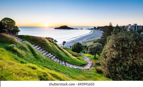 Sunrise at summit hiking track on Mount Maunganui, New Zealand