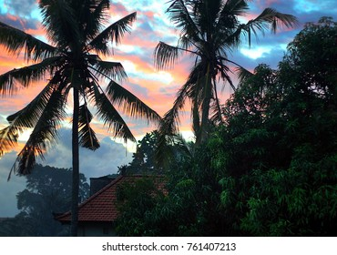 Sunrise, sunset in bali indonesia. view of palm trees sky and roof
