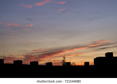 Sunrise and sunset over the buildings in the Zilina city. Slovakia