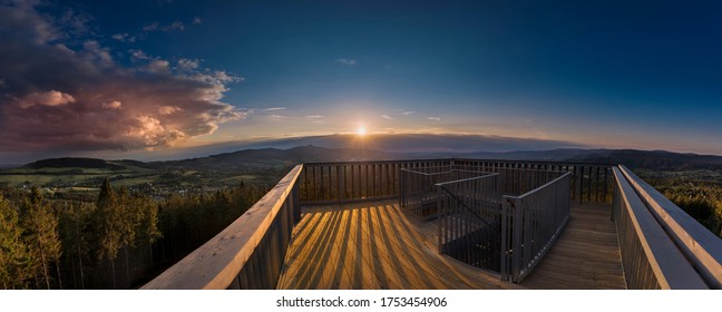Sunrise and sunset over the city of Liberec, Czech republic. over Jested. View from the view Cisarsky kamen. The best photo. - Shutterstock ID 1753454906