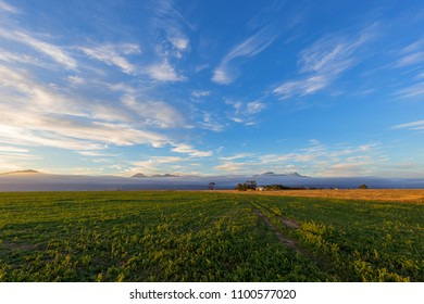 sunrise sunset over farmland fields of grass with a dramatic clouded blue sky