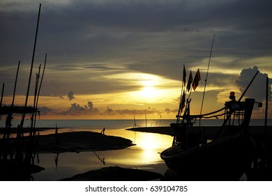 sunrise or sunset at the sea port and the beach
