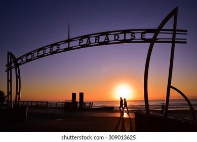 Sunrise in Surfers Paradise, Gold Coast, Queensland, Australia