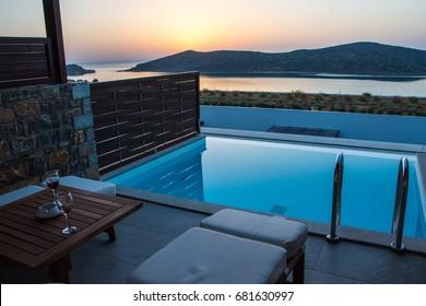 Sunrise swimming pool in Royal Marmin Bay Boutique Hotel at Elounda City, Crete, Greece