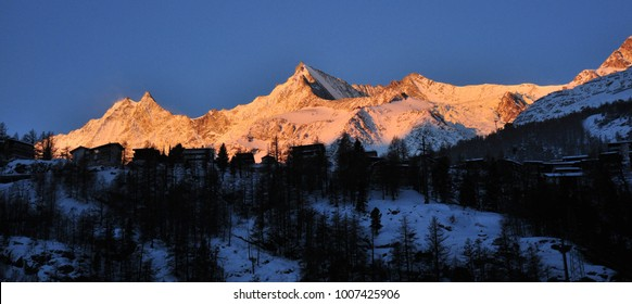 Sunrise in the Swiss Alps in Saas valley
