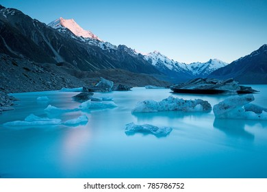 Sunrise at Tasman Glacier and glacier lake, Mt Cook, New Zealand