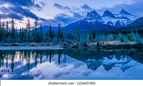 Sunrise with the Three Sisters in Canmore