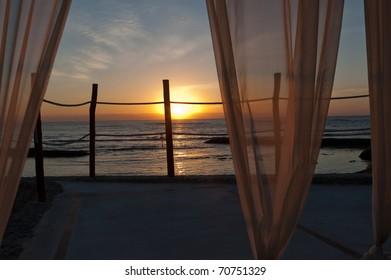 Sunrise thru the Gazebo curtains