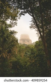 Sunrise at the Tikal temple complex just after the morning fog lifted to reveal all the structures