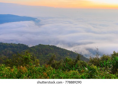 sunrise time and fog around mountain at PHU-RUEA national park,LOEI in Thailand