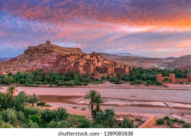 Sunrise time of Ksar of Ait Ben Haddou (Ait Benhaddou) in Morocco
