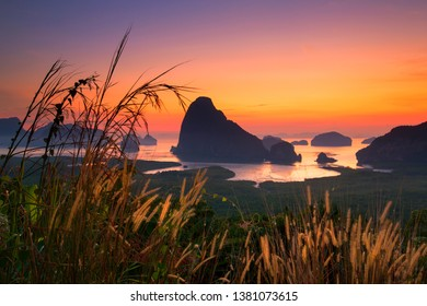 sunrise time at Samed Nang Chee mountain view point in Phang Nga Province,thailand