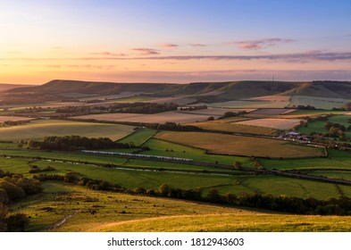 Sunrise from the top of mount Caburn on the Lewes Downs, east Sussex south east England