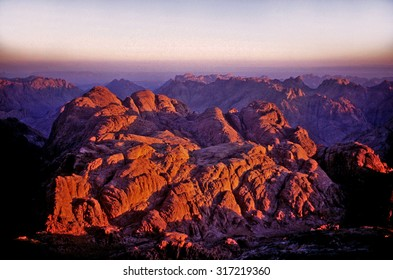 Sunrise at the top of Mount Moses on Sinai Peninsula in Egypt