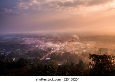 Sunrise with Top view of Nan Province, Nan is a town in northern Thailand.