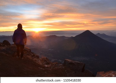 Sunrise from the top of Volcan Acatenango in Guatemala. You have a perfect view over, Antigua, Guatemala City and Volcan de Agua.