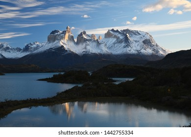 Sunrise at Torres del Paine Chile with lake Pehoe reflection