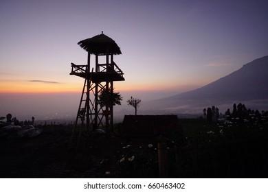 Sunrise tower in Posong, Temanggung, Central Java, Jawa Tengah, Indonesia